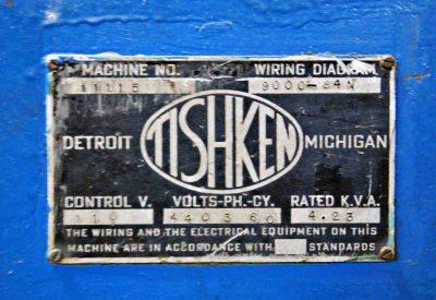 25 Ton Tishken Cutoff Press Specifications