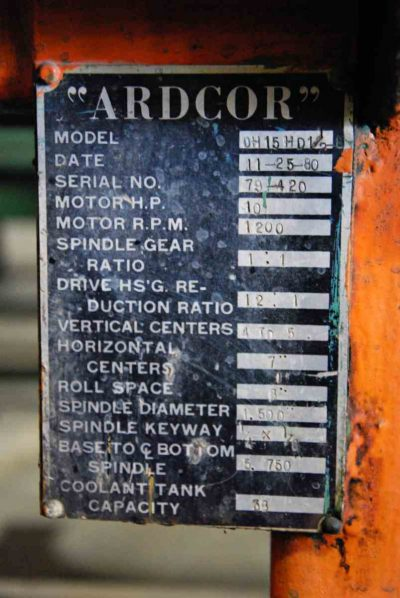 Used Ardcor Roll Former Specifications